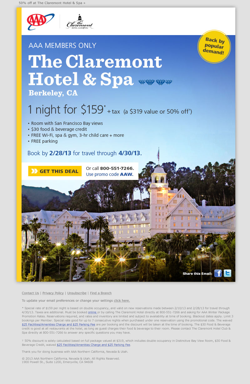 The Claremont Hotel & Spa email